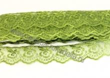Кружево вышивка на капроне 4 см. Темно-зеленое