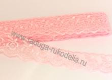 Кружево вышивка на капроне 4 см. Светло-Розовое
