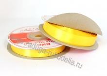 Лента атласная, 12 мм. Ярко-желтая В-022
