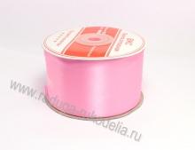 Атласная лента 5 см, ярко-розовая В-038