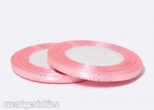 Лента атласная с люрексом, Розовая Серебро 089, (25 ярдов), 6 мм