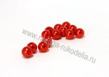 Бусины акриловые красные 10 мм (18-20 шт)
