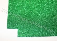 Фоамиран глиттерный, зеленый. 20х30 см