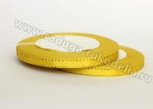 Лента атласная с люрексом, 6 мм, желтая, бобина (25 ярдов)