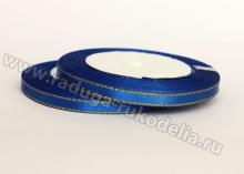 Лента атласная с люрексом, 6 мм, темно-синяя, бобина (25 ярдов)