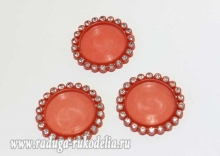Крышка пластиковая со стразами, внутренний диаметр 25 мм, темно-красная