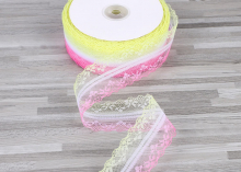 Кружево Розово-желтое, 4 см
