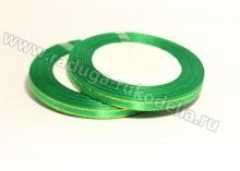 Лента атласная с люрексом, 6 мм, зеленая СЕРЕБРО, бобина (25 ярдов)