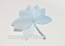 Листики на проволоке, ткань, 3х5 см, светло-голубые. Связка 10 шт