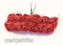 Букетик розочек с фатином 12 штук, размер розы 2 см.. Бордовые