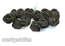Букетик розочек 12 штук, размер розы 2 см. . Черные