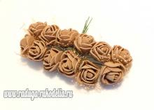 Букетик розочек с фатином 12 штук, размер розы 2 см. . Коричневые