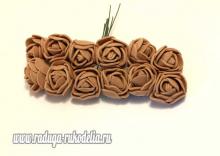 Букетик розочек 12 штук, размер розы 2 см. . Коричневые
